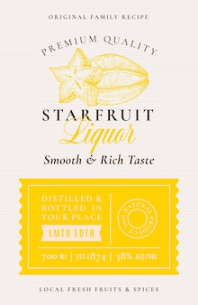 Family recipe starfruit liquor acohol label abstract vector packaging design layout modern typograph...