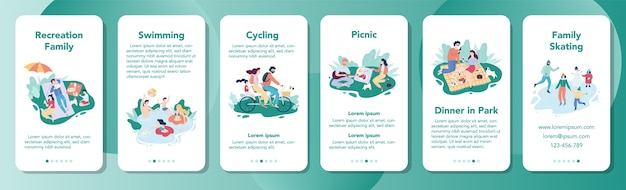 Family recreation mobile application banner. happy family spending tie together. collection of father, mother and children on nature. weekend in the park.
