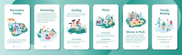 家族のレクリエーションモバイルアプリケーションのバナー。幸せな家族の支出は一緒にネクタイします。自然の父、母および子供たちのコレクション。公園での週末。