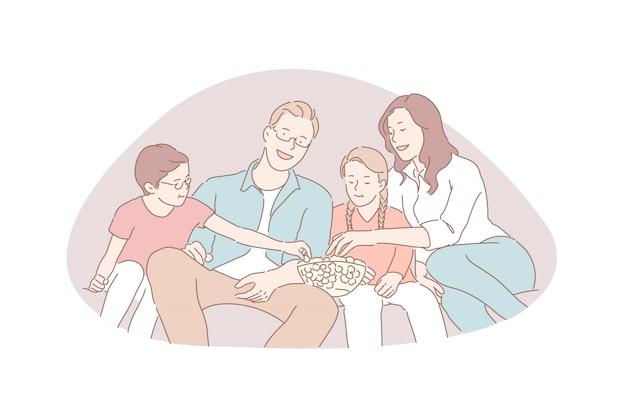 Family recreation, movie night, traditional values concept