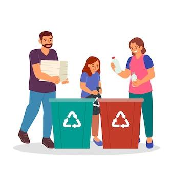 Family recycling together