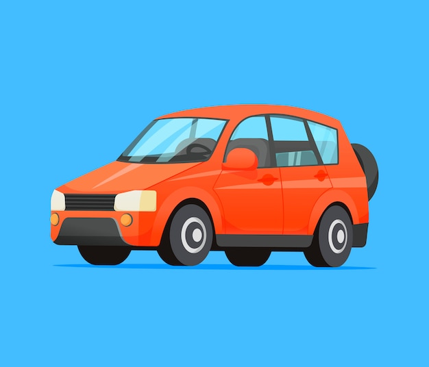 Family red car isolated illustration.