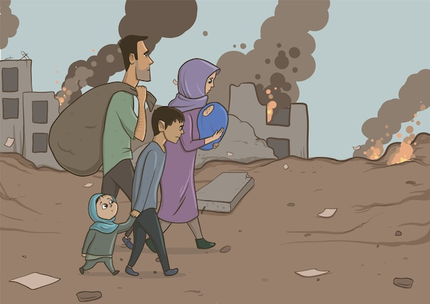 Family of refugees with two children on destroyed buildings. immigration religion and social theme. war crisis and immigration. horizontal vector illustration cartoon characters.