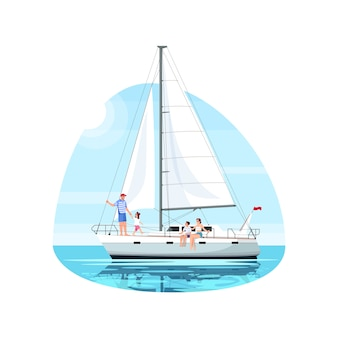 Family on regatta semi flat   illustration
