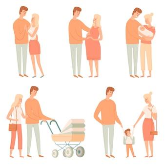 家族関係。幸せな人々は他の父親の学生の赤ちゃんの大家族の漫画の写真を子供します。父と母の赤ちゃん家族同封