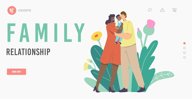 Family relationship landing page template. multiracial loving parents kiss baby. mother and father caucasian and african ethnicity characters holding child on hands. cartoon people vector illustration