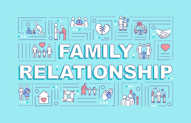 Family relationship word concepts banner. parenting and family development. infographics with linear icons on turquoise background. isolated typography. vector outline rgb color illustration