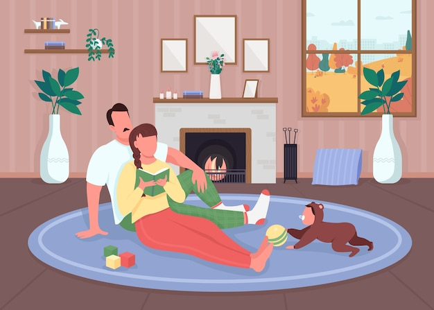 家族は家でリラックスフラットカラーイラスト
