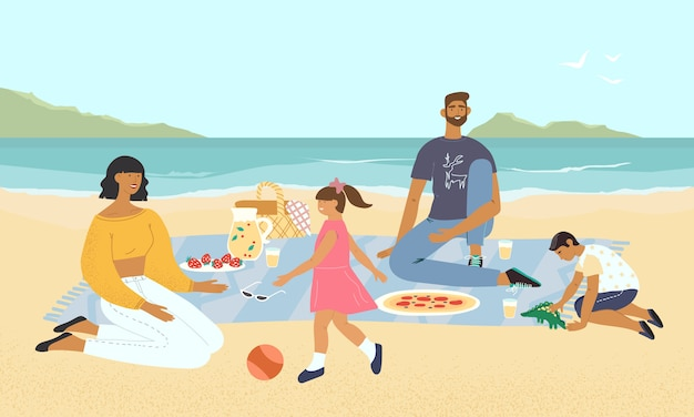 Family relaxing at a picnic on the seashore. mother and father playing with their childern on the beach. parents with kids having fun and eating food by seaside. flat illustration with landscape view.