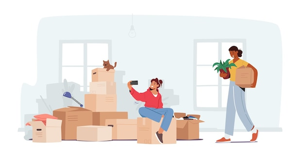 Family relocation in new house concept. happy girl teenager sitting on carton boxes making selfie, mother carry things and potted plant into wide light room. cartoon people vector illustration