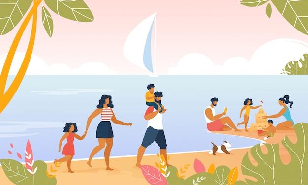 Семейный курорт на берегу моря со счастливыми родителями, детьми