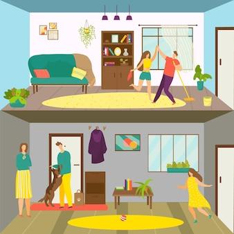 家族の家で休むセット、ベクトルイラスト。男と女のキャラクターが一緒に部屋を掃除し、家事をしながら踊ります。フラット娘の女の子