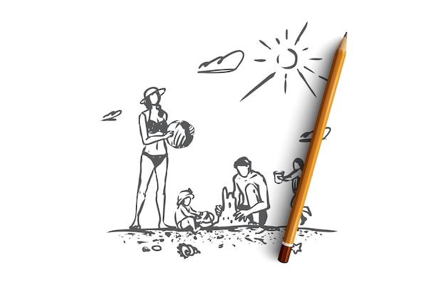 가족, 휴식, 해변, 여름, 휴가 개념. 손으로 그린 부모와 자녀는 해변 개념 스케치에 재미가 있습니다. 삽화.