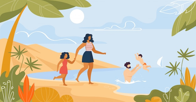 Family rest on tropical beach illustration