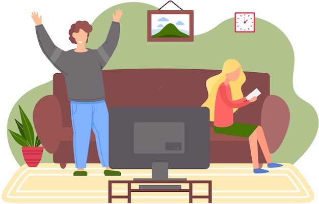 テレビで家で休んでいる家族