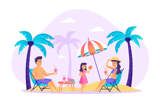 Family resting at beach flat design concept with people characters scene