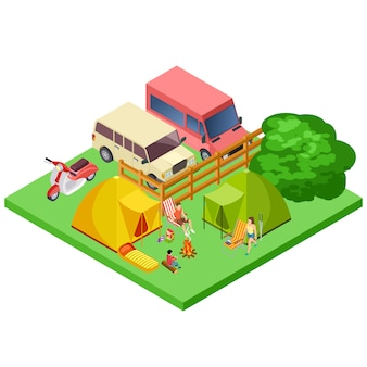 Family resting in nature, eco tourism, camping isometric  location