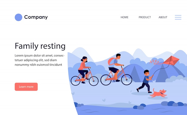 Family resting with son in countryside . website template or landing page