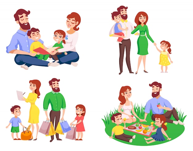 Family retro cartoon style set