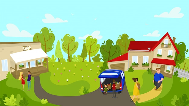 Family returns home from local grocery store, people illustration