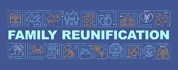 Family reunification word concepts banner. parents with children moving abroad. infographics with linear icons on navy background. isolated typography.