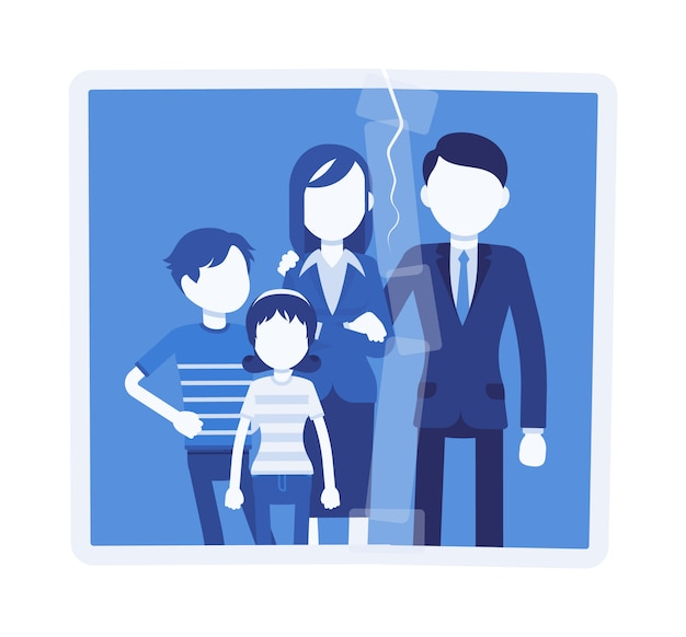 Family reunion portrait. a photo with glued rift between people, husband back home, marriage family relationship recovery, social psychological support.  illustration with faceless characters