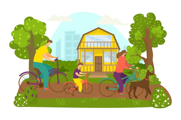 Family ride bicycle, vector illustration. man woman people character at bike, sport activity in park, outdoor leisure with cartoon child, dog. riding together near house, active summer holiday.