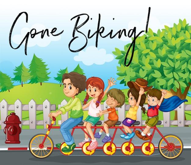 Family ride bike on road with phrase gone biking