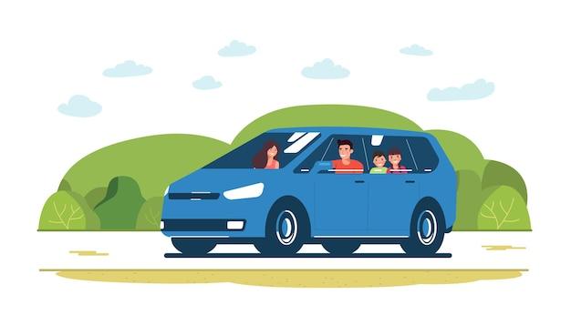 미니밴 자동차에 가족이 타고 있습니다. 벡터 일러스트 레이 션.