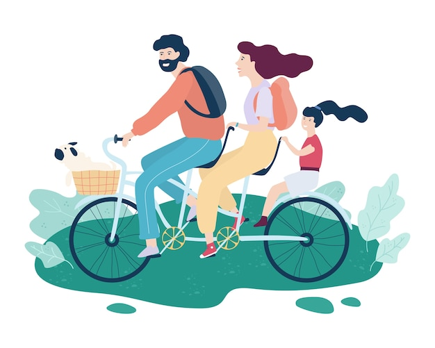 Семья катается на тандемном велосипеде. счастливый отец, мама