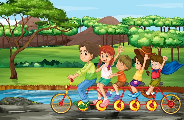 공원에서 가족 승마 자전거