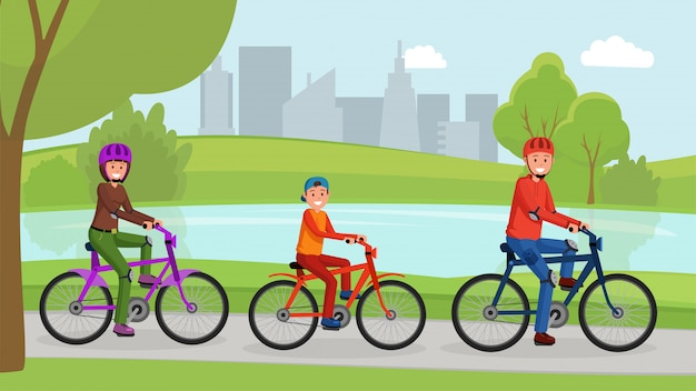 Family riding on bicycle in park flat poster