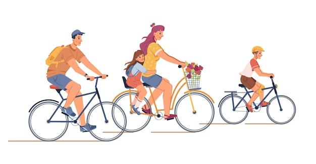 Семья, езда на велосипедах мать отец дети