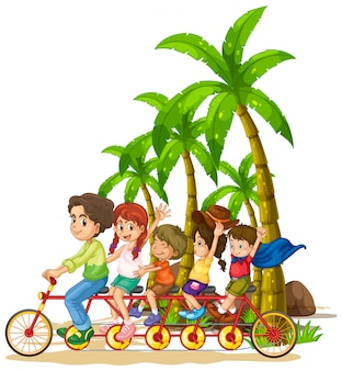 Family riding tandem bike on the beach