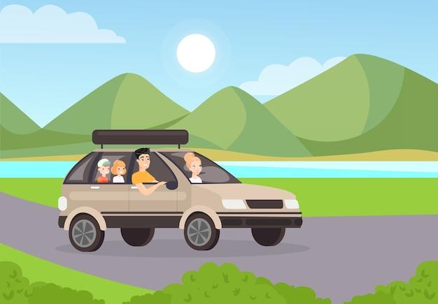 家族の遠征のイラスト夫と子供たちが旅行している車に乗る母