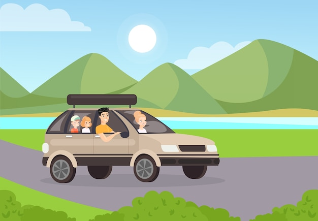 Family road trip   illustration mother riding car with husband and children travelling