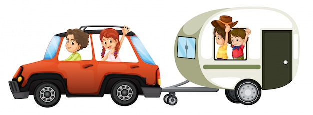 A family road trip on white background