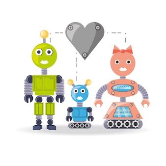 Family robot cartoon