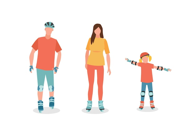Family in roller skates father mother and child daughter cartoon characters
