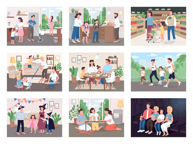 Family routine flat color illustrations set. mother and father buy groceries with kids. parents spend time with children while cleaning house. watch movie on couch. 2d cartoon characters