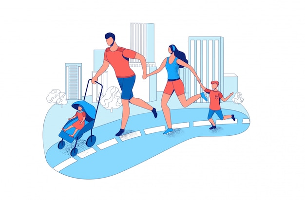 Family running marathon together in the city