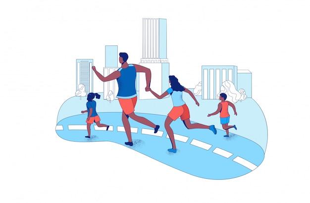 Семейный марафонский бег вместе в городе