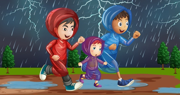Family running in the rain