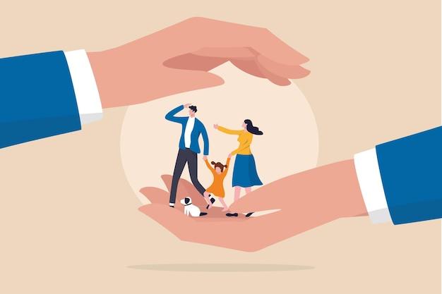 Семейная безопасность, страхование жизни или концепция защиты, прекрасная семья, взявшись за руки.