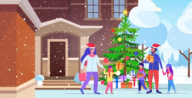 Family in santa hats walking outdoor parents and children holding colorful shopping bags christmas sale winter holidays concept modern house building exterior    illustration