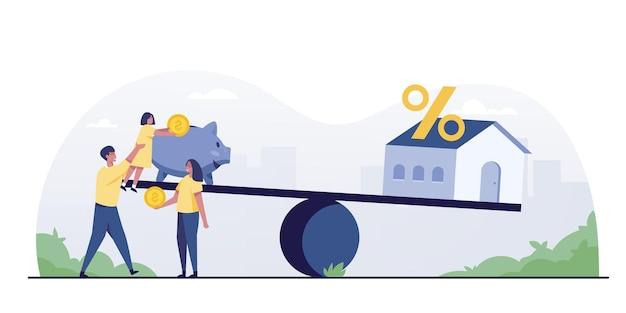 Семья экономит деньги, чтобы купить дом. идеи для инвестиций в недвижимость, такие как таунхаусы, масштабные и частные дома.