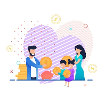 Family saving money together cartoon illustration