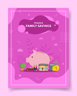 Family saving people around piggy bank car for template of flyer