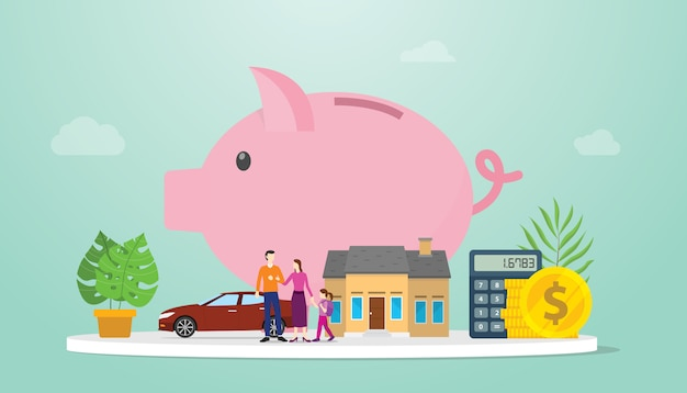 Family savings financial management plan with piggy bank and small family parents with modern flat style - vector
