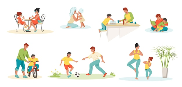 Family scenes. kids and parents playing reading and spending time together, father mother daughter and son characters. vector image family relationship, education mom, dad with kids